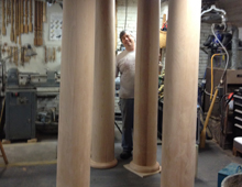 These are custom floor-to-ceiling columns made for a popular new restaurant on Bow Street, Portsmouth, NH: the Martingale Wharf. The columns are pictured pre-installation in Michael's Button Factory Studio.